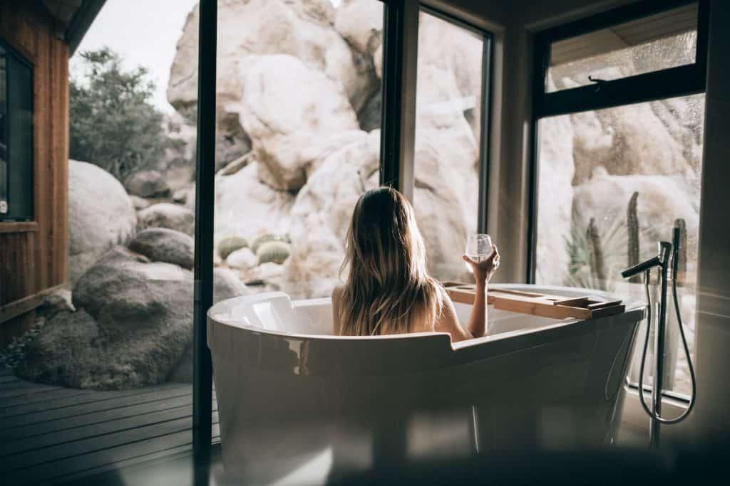 Woman relaxing bath large